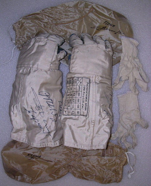 # h050a            EVA-1 ISS-3 Orlan-M gloves of Dezhurov 1