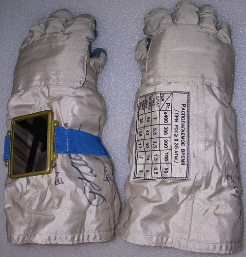 # h050b            EVA-2/ISS-3 Six hours worn in outer space glo 1