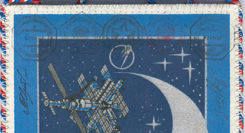 # fpit251            Soyuz TM-25/MIR flown pennant from cosmonau 2
