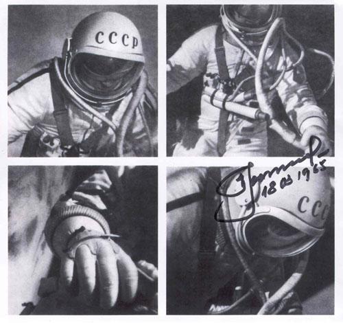 # vskhd100            Voskhod-2 `Space swim` EVA A.Leonov autographed photos. 3
