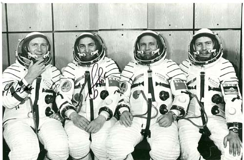# cspc144            Soyuz-31 cosmonauts signed photo of main team with back ups 1