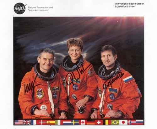 # cspc120            ISS Expedition-5 crew signed NASA print 1