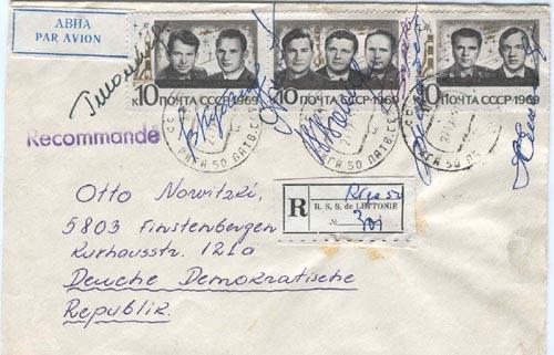 # acc105            Soyuz-6,7,8 cosmonauts autographed cover 1
