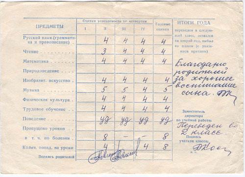 # aldd099            Cosmonaut Levchenko son signed school report 1