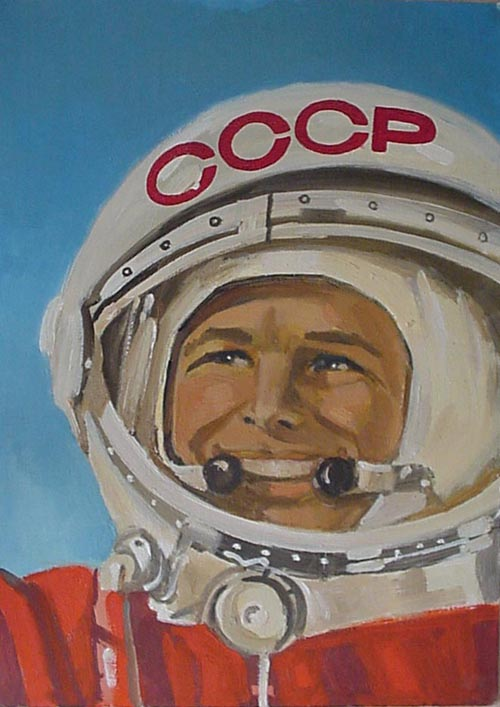 # spnt112            Yuri Gagarin portrait oil painting of A.Dzhabarov 1