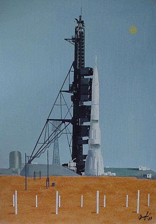 # spnt130           N-1 Moon rocket oil painting of A.Dzhabarov 1