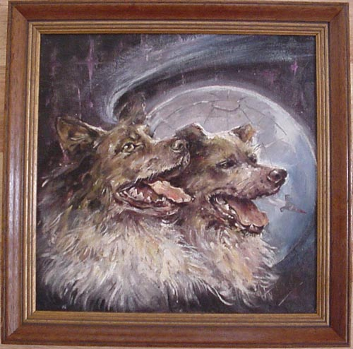 # spnt113            Belka-Strelka Cosmos dogs oil painting of Inna Bordayeva 1