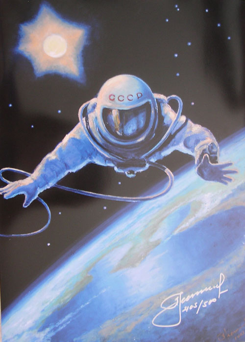 # spmt099            Alexei Leonov OVER THE PLANET spacewalk limited edition signed lithograph 1