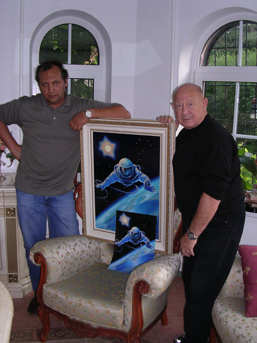 # spmt099            Alexei Leonov OVER THE PLANET spacewalk limited edition signed lithograph 3