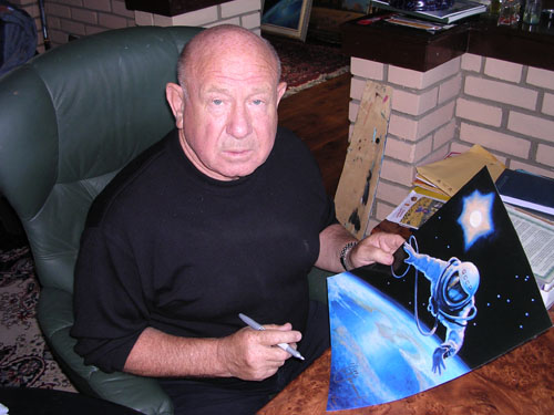 # spmt099            Alexei Leonov OVER THE PLANET spacewalk limited edition signed lithograph 4