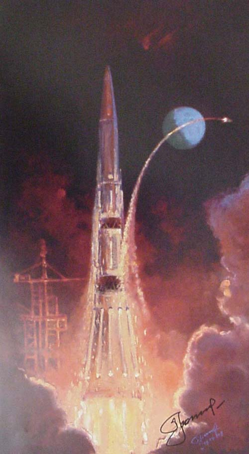 # sprnt100            Cosmonaut Leonov artwork N-1, THE BEGINNING signed lithograph 1