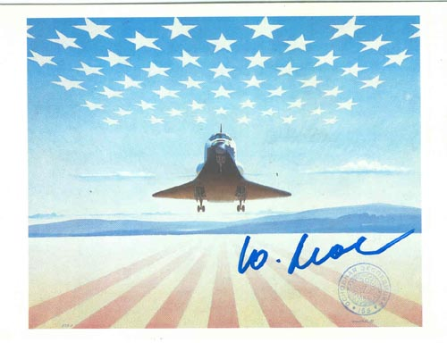 # sprnt200            Robert McCall COLUMBIA shuttle artwork on flown in space card 1