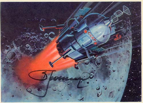 # sprnt702            Lunar Lander artwork card signed by Leonov 1