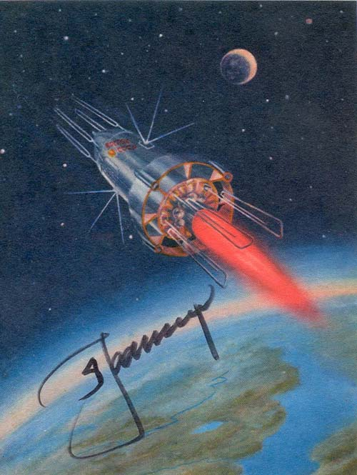 # sprnt708            Spaceship Over The Planet A.Leonov signed artwork card 1