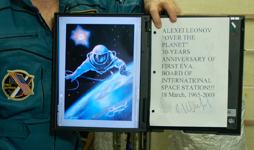 # spmt099a            A.Leonov artwork on board ISS 2